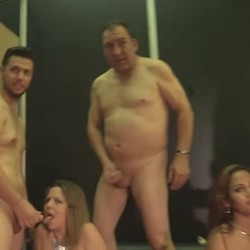 Our two little sluts get our three guys' cumshots. jizz party at Madrid Erotic Salon.
